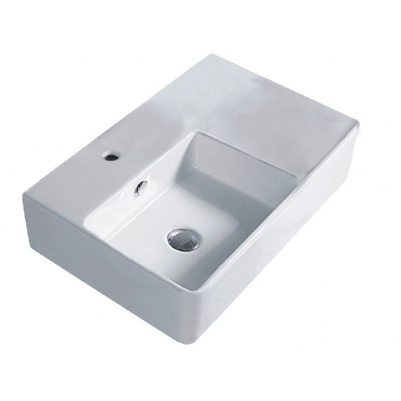 Above Counter/Wall-hung Square White Bathroom Vanity Ceramic Basin Sink 605*410*150mm