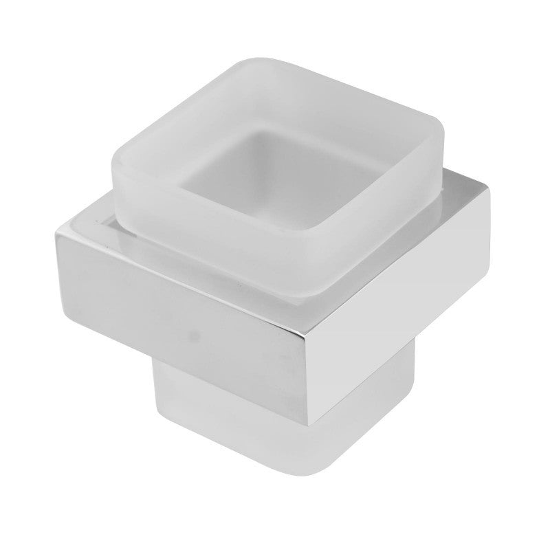Kube Square Chrome and White Toothbrush Holder