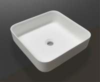Alessia 400mm x 400mm x 130mm SQUARE ABOVE COUNTER TOP STONE BASIN