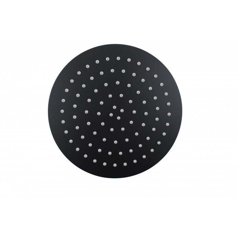 Super-slim Round Matte Black Rainfall Shower Head 250mm