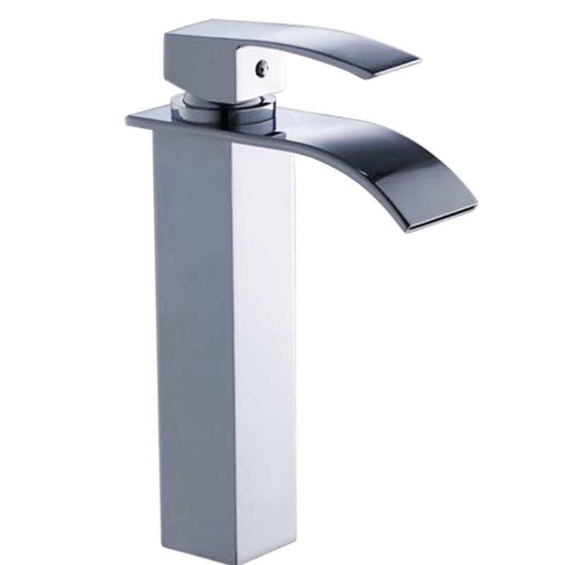 Zen Waterfall Square Chrome Tall Basin Mixer Tap | Bathroom Trade Shed