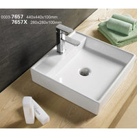 Above Counter Square White Bathroom Vanity Ceramic Basin Sink 440*440*100mm
