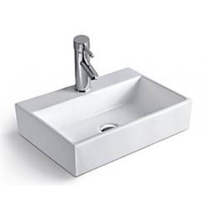 Above Counter/Wall-hung Square White Bathroom Vanity Ceramic Basin Sink 530*360*120mm