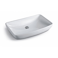 Above Counter Square White Bathroom Vanity Ceramic Basin Sink 705*390*130mm