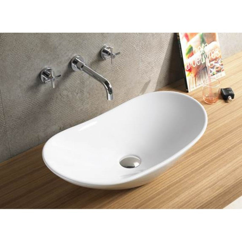 Above Counter Oval White Bathroom Vanity Ceramic Basin Sink 620*340*145mm