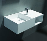 Bonita Wall Mounted Basin Vanity 800mm x 400mm x 200mm Stone Solid Surface Matt White