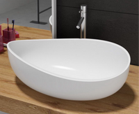Concetta Above Counter Basin 600mm x 370mm x 210mm Stone Solid Surface Matt White