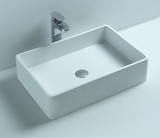 Eva Rectangle Above Counter Basin 600mm x 400mm x 150mm Stone Solid Surface Matt White