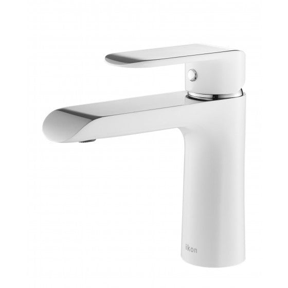 Ikon Kara Basin Mixer - White & Chrome
