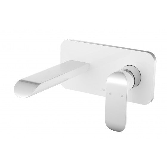Ikon Kara Wall Mixer & Spout - White & Chrome