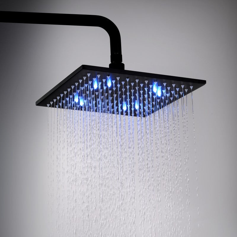 LED Square Matte Black Water Saving Rainfall Shower Head 10 inch