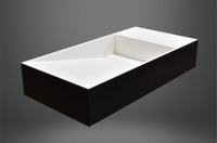 Viola Wall Hung or Counter Top Basin 800mm x 400mm x 150mm Stone Solid Surface Matt Black