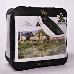 Alpaca Luxury quilts from AABC. Pure alpaca fleece filling and luxury cotton cover. Australian alpaca fleece which s premium quality