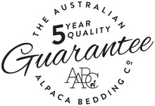 The Australian Alpaca Bedding Company quilts come with a five year quaity guarantee