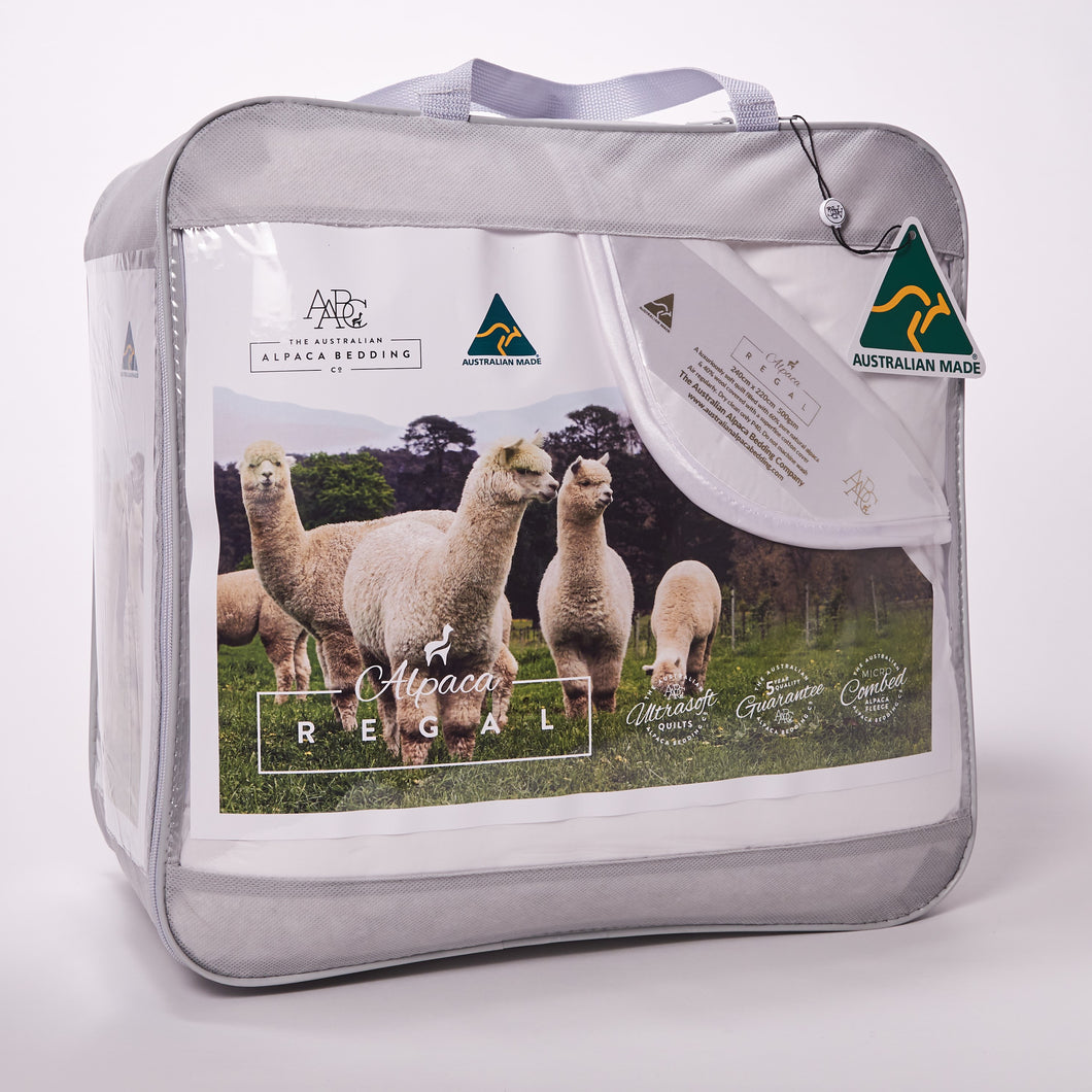 The Alpaca Regal packaging with Australian alpacas on the front insert. Soft and cute