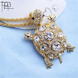Gold Plated Rhinestone Filled Turtle Pendant Necklace