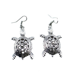 Vintage Tibetan Silver Turtle Dangle Earrings