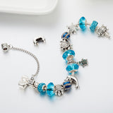 Vintage Silver Turtles Crystal Beads Charm Bracelet For Women