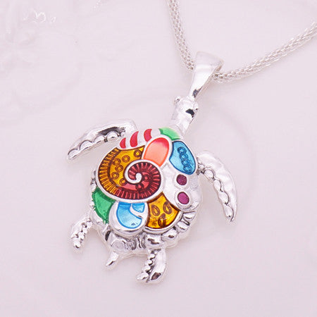 Bright Color Enamel Turtle Necklace