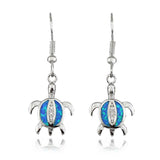 Lovely Tiny Turtle Synthetic Blue Fire Opal Earrings