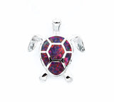 Blue Fire Opal Sea Turtle Necklace