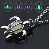 Silver Luminous Glow in the Dark Turtle Necklace