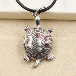 Tibetan Silver Turtle Necklace with Black Leather Cord