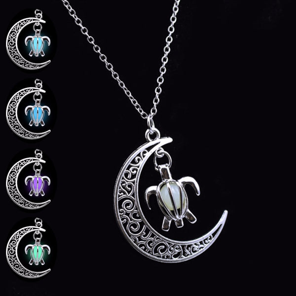 Silver Plated Glowing in the Dark Chain Moon Turtle Necklaces