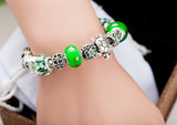 Silver with Green Glass Charm Beads and Sea turtles Charm Bracelet
