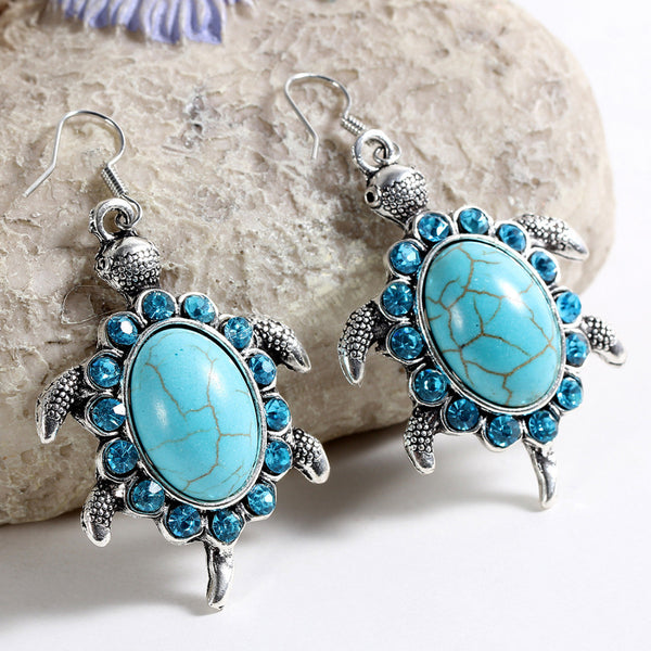 Tibetant Silver Vintage Turtle Earrings with Crystal Beads and Natural Turquoise Stone