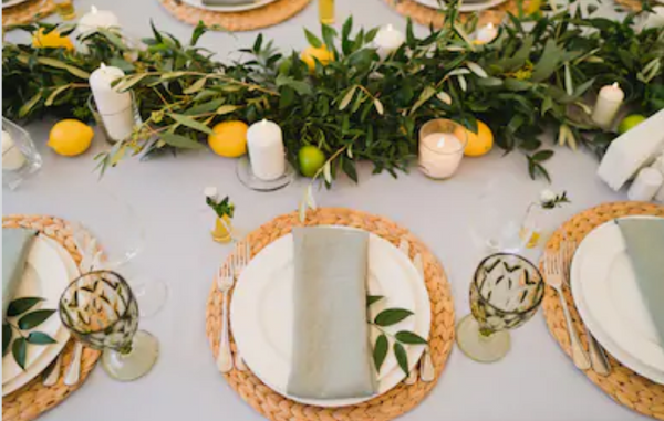 Candles foliage runner wedding