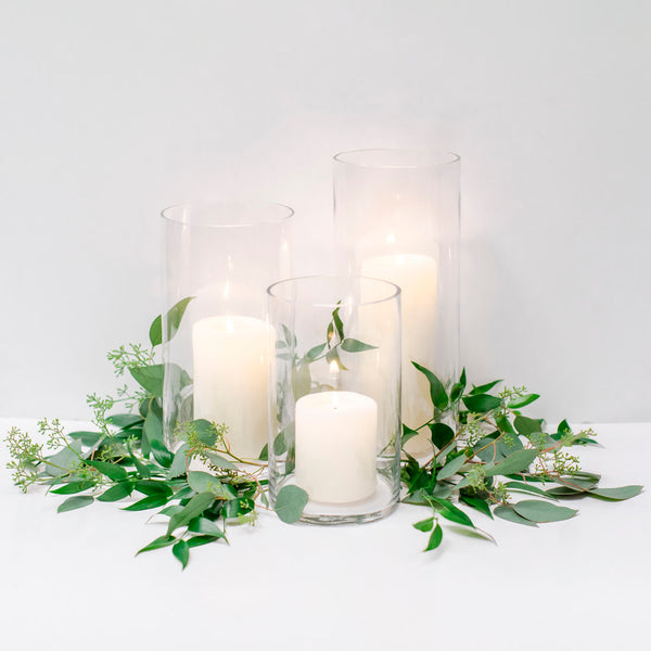 White wedding pillar candles Sydney
