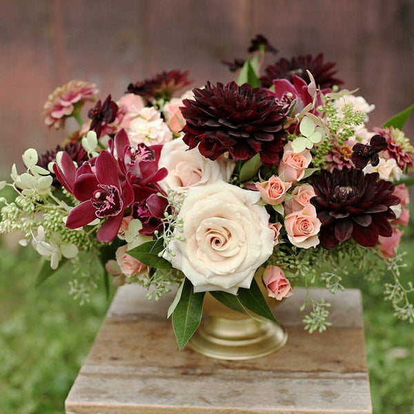 Red peach wedding flowers