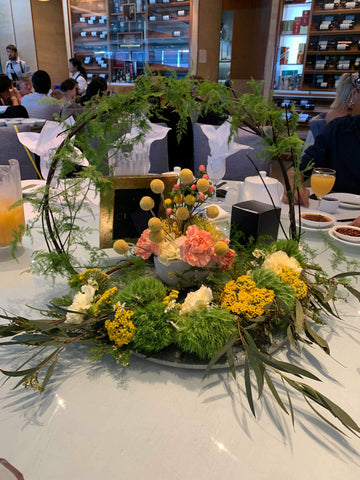 Willow and flower table arrangements  for weddings. Sydney wedding florist