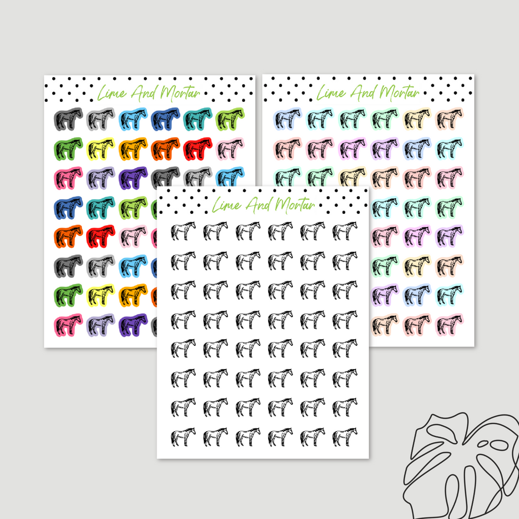 Horse Riding Mini Icon Stickers