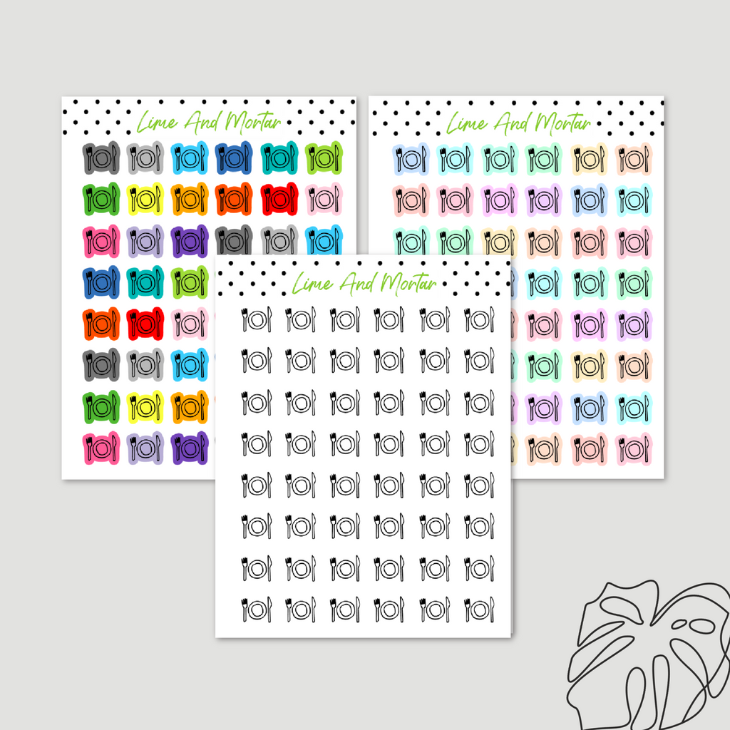 Meal Mini Icon Planner Stickers