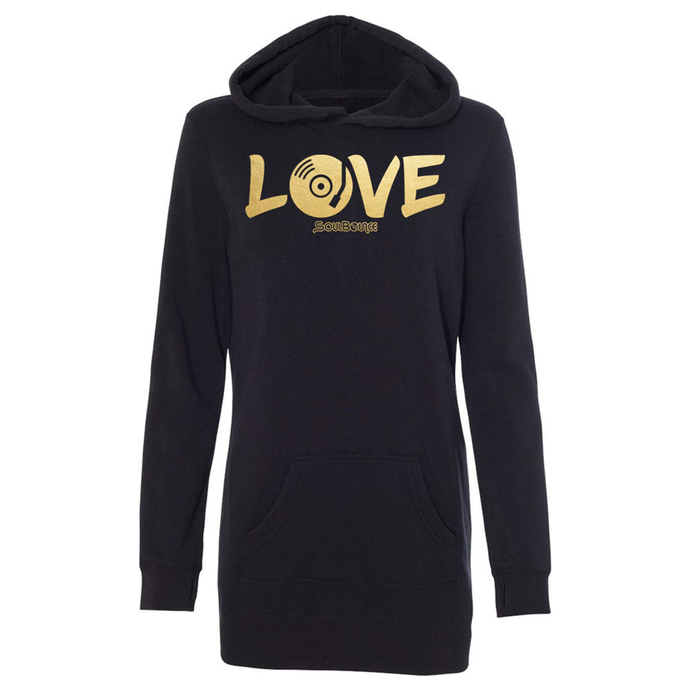 LOVE Music Hooded Sweatshirt Dress