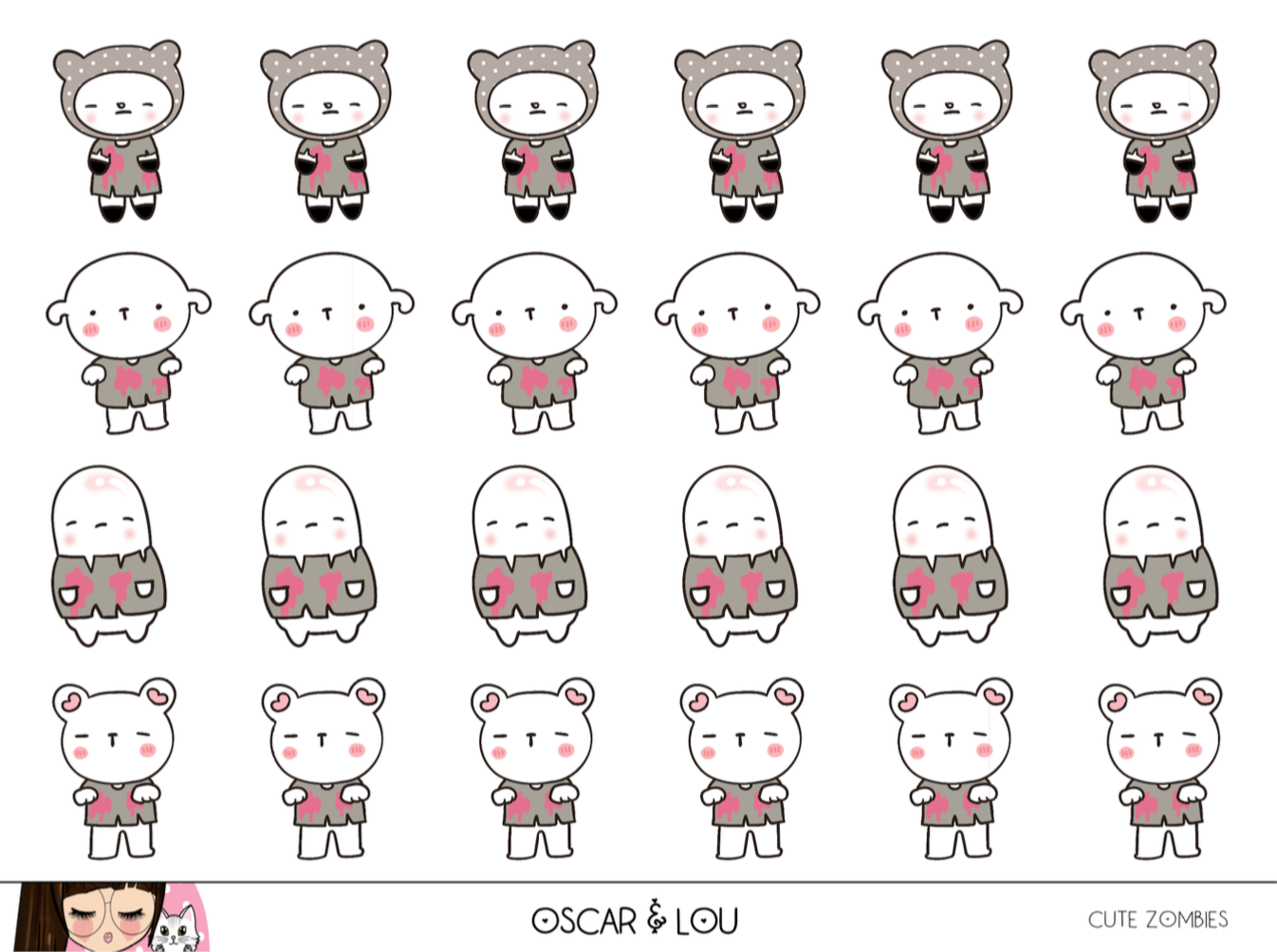 Mini Sheet  - Cute Zombies
