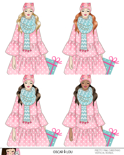 Vertical Sticker Kit - Pretty Pink Christmas