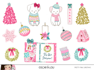 Mini Sticker Sheet  - Pretty Pink Christmas