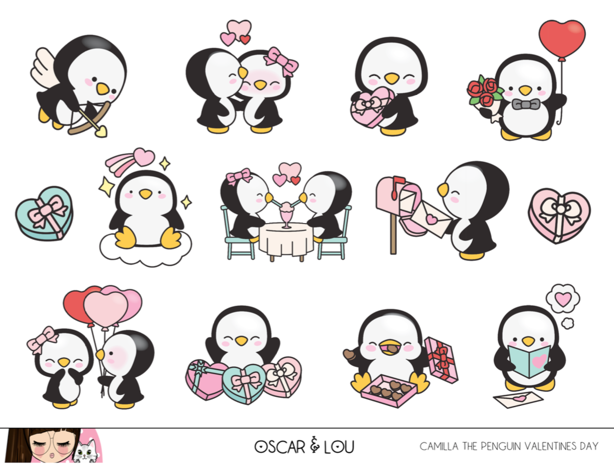 Mini Sheet  - Camilla The Penguin Valentines