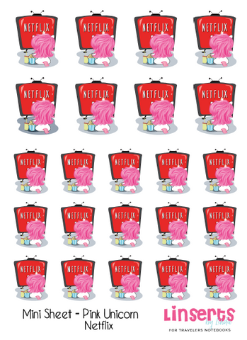 Mini Sticker Sheet  - Pink Unicorns Netflix