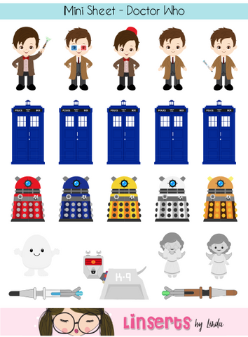 Mini Sticker Sheet  - Dr Who