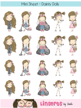 Mini Sticker Sheet  - Dainty Dolls