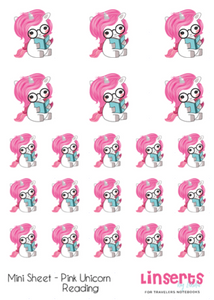 Mini Sticker Sheet  - Pink Unicorns Reading