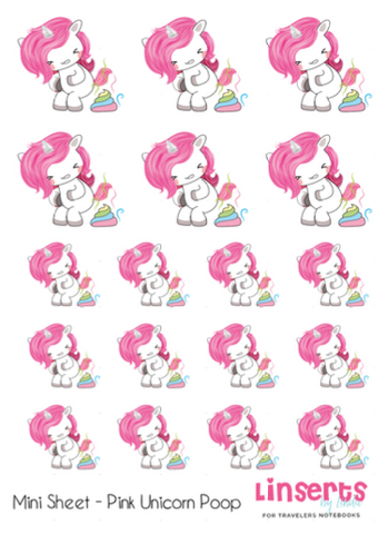 Mini Sticker Sheet  - Pink Unicorns Poop