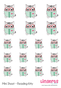 Mini Sticker Sheet  -  Reading Kitty