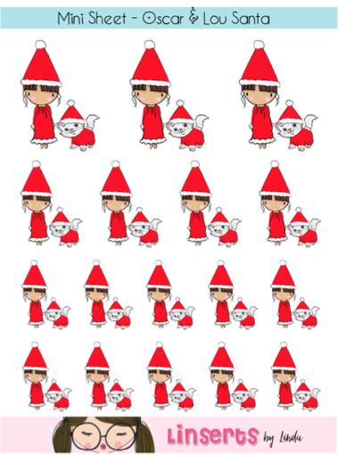 Mini Sticker Sheet  - Oscar & Lou Santa