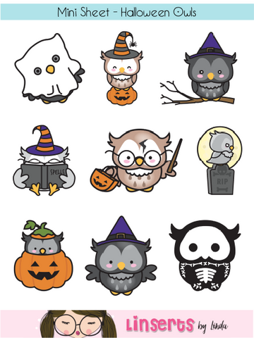Mini Sticker Sheet  - Halloween Owls