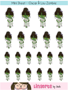 Mini Sticker Sheet  - Oscar & Lou Zombie